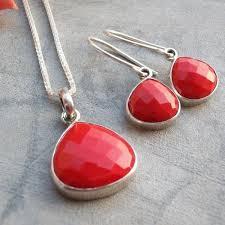 sterling silver necklace set images Buy sterling silver jewelry set red coral jewelry set pendant jpg