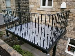 artistic home balcony design attached on rustic grey wall with