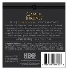 game of thrones 2016 central coast chardonnay 750ml white wine at