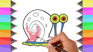 how to draw spongebob gary the snail colouring book for kids