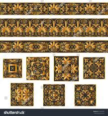 set collections ornaments golden stock vector 411893767