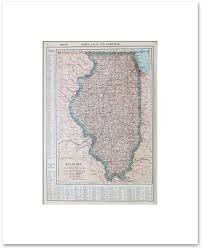 Illinois Map With Counties by States H M Vintage Maps