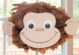 curious george birthday party ideas curious george monkey inspired pom pom kit baby shower