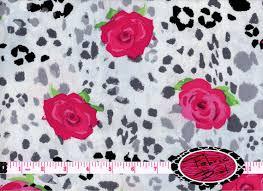 cheetah fabric by the yard print roses by fabricbrat