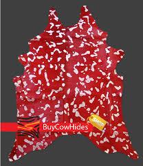 Silver Cowhide Rug Brazilian Cowhide Rug Dyed Devore Silver On Red Cowhide Rugs