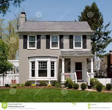 gray painted brick house stock photo image 40262984