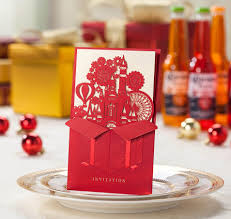 wedding invitations cards hollow love castle red color free