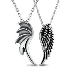 couples necklace necklaces and angel wing pendants set antiqued finish