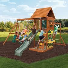 Small Backyard Swing Sets by Cedar Summit Sandy Cove Wooden Swing Set Walmart Com Swing