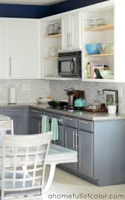 kitchen painted two tone kitchen cabinets with white tile