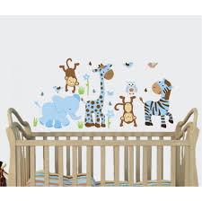 Vinyl Tree Wall Decals For Nursery by Blue U0026 Brown Jungle Murals For Kids Rooms With Giraffe Decals For