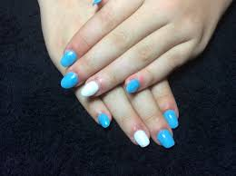 blue and white acrylic nails on my teenager youtube