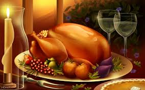 thanksgiving dinner meal large roasted turkey food candles wine
