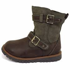 brown motorcycle boots girls childrens kids flat brown zip up winter biker boots