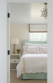 Pink And Green Bedroom - pink and green bedroom with beadboard ceiling transitional bedroom