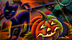 hd widescreen wallpaper halloween cats wallpapersafari
