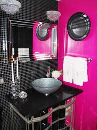 Purple Bathroom Ideas Interior White Color Wooden Vanity Round Shape Bathtub Shower
