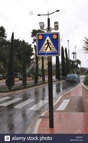 Monte Carlo Lights Illuminated Road Sign With Warning Lights And Camera Directed