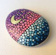 sunset above the sea painted stone painted rock fairy garden