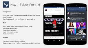 falcon pro updated to v1 6 with amp link previews new media