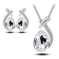 rhinestone necklace earrings images White rhinestone necklace earrings set girlytreats jpg
