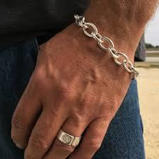chain link bracelet silver images Silver chain link bracelet by backyard silversmiths jpg