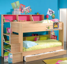 bedroom white polished solid wood bunk bed with storage and desk