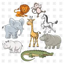 safari cartoon cartoon safari and jungle animals flat icons vector clipart image
