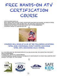 free hands on atv certification courses tri county health