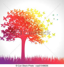 rainbow butterfly tree vectors search clip illustration