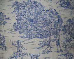 Drapery Fabrics Drapery Fabric Blue French Toile Fabric Upholstery Fabric