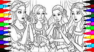 coloring pages barbie and her friends coloring book videos for