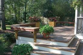 Decks With Benches Built In Deck Benches As Railing St Louis Decks Screened Porches