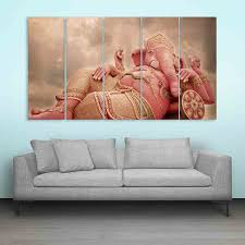 Wall Painting Images Multiple Frames Lord Ganesha Beautiful Wall Painting 150cm X 76cm