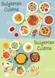cuisine bulgare jeu dicônes plats cuisine bulgare des aliments sains stock vecteur