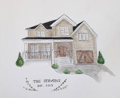House Drawings by Custom House Portrait Hand Drawn Watercolor House Drawing
