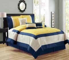 Ivory Comforter Set King 7 Piece Color Block Yellow Navy Ivory Comforter Set