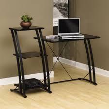 metal u0026 glass desk black w tiered shelf officefurniture com