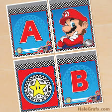 download free printable mario kart alphabet banner