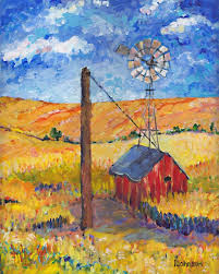 windmill gold wheat field farm landscape impressionistic giclee