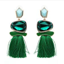 emerald green earrings emerald green tassel earrings