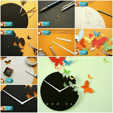 creative ideas diy butterfly clock wall