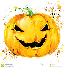 halloween pumpkin watercolor illustration background for the