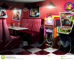 fifties cafe and slot machine stock illustration image 67661361