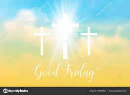 friday background with white cross and sun rays stock