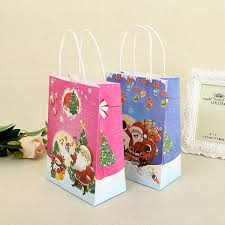 christmas paper bags 20pcs merry christmas paper bags with handles santa claus
