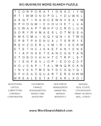 big business printable word search puzzle