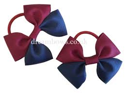 thick ribbon navy blue and burgundy grosgrain ribbon hair bows on thick bobbles