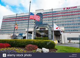 Flag Of Baltimore Marriott Hotel With Flags Flying At Half Mast For Pearl Harbor
