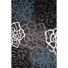 Designer Modern Rugs Contemporary Modern Floral Flowers Gray 5 Ft 3 In X 7 Ft 3